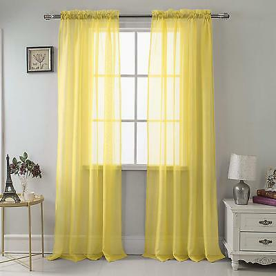 Set Of 2 Sheer Voile Tailored Curtains 90 Long Bright Yellow
