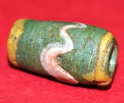 Ancient Green Islamic Wound Bead Wave Design Yellow Stripes Mali, African Trade