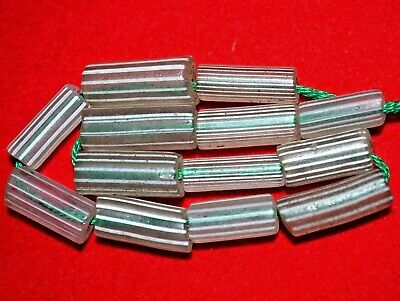 Antique Venetian Drawn Gooseberry Clear Glass Beads With Stripes, African Trade