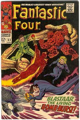 FANTASTIC FOUR # 63 June 1967 BLASTAAR INHUMANS KIRBY Free SHIPPING to the USA