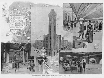 Grand Central Depot, Chicago 1891 Antique Engraving