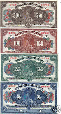 INDO-CHINE RUSSIE RUSSIA SIBERIE France SERIE 4 Billets RUBLES 1919 NEUF UNC