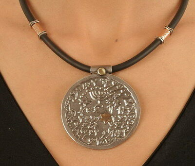 Silver&Gold Priestly Benediction Charm Necklace Antique Hebrew Holy Bible Script