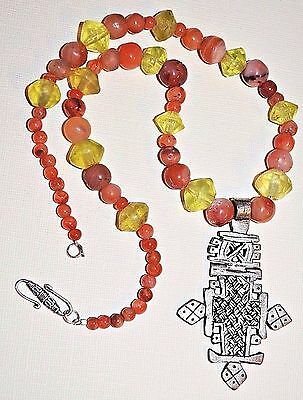 Ethiopian Christian Cross Necklace Antique Carnelian Agate Vaseline Beads Africa