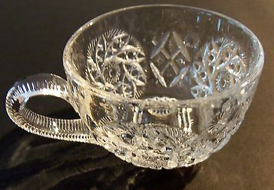 Antique, Cut Crystal or Pressed Glass Cup, Floral