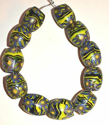 Antique Venetian Millefiori Oval Shaped Glass Beads Center Stripes African Trade