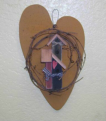 Handmade Wood Primitive Heart Accented With Birdhouses 12""