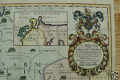 Ukraine Poland Lithuania Latvia old map Gloucester 1700