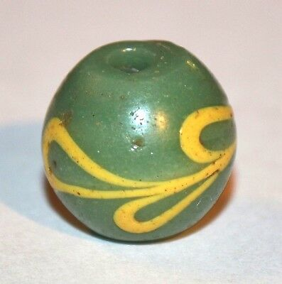 SUPER Rare Green & Yellow Antique Venetian Lampwork Feather Bead