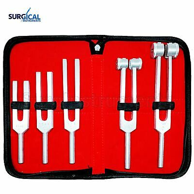 Tuning Fork Set of 5 - Medical Surgical Diagnostic Instruments + Carrying Case