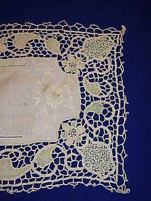 Beautiful  Guipure needle lace table Runner  w/Cutwork