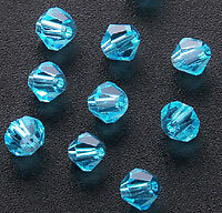 720 4mm Faceted Crystal Bicone Beads Aquamarine A038