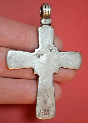 Antique Ethiopian Silver Coptic Christian Cross Pendant From Ethiopia, Africa