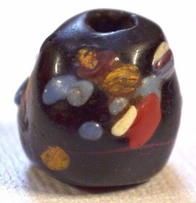 Ancient Black Glass Islamic Bead End Of Day Crumb Decorations Mali African Trade
