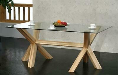 MILTON solid OAK furniture large GLASS dining table NEW