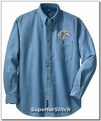 SCOTTISH DEERHOUND embroidered denim shirt XS-XL