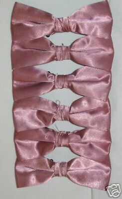 Lot of 6 Rose Pink Matching Adult Bow Ties Pre-tied BT1