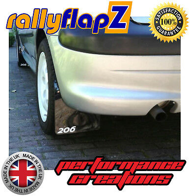 Rally style Mudflaps PEUGEOT 206 GTi Mud Flaps Qty4 (4mm PVC) Black Logo White