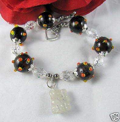 Artisan Glass & Gemstone Charm Bracelet CAT RESCUE
