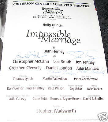 SIGNED Playbill IMPOSSIBLE MARRIAGE, Christopher McCann,Jon Tenney,Daniel London