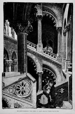Albany Capital Senate Staircase, 1885 Antique Architecture, Vintage Engraving