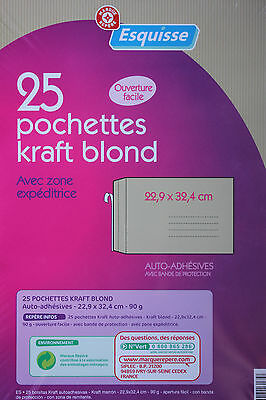 25 GRANDES ENVELOPPES KRAFT - ADHESIVES - 22,9 x 32,4 cm