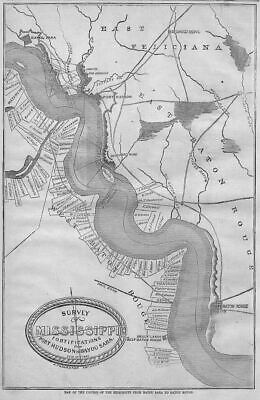 Mississippi 1863 Survey Map, Port Hudson To Bayou Sara