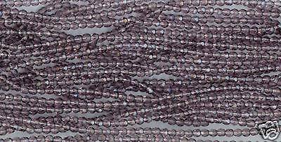100 - 4mm Faceted Round Czech Glass Beads - Amethyst
