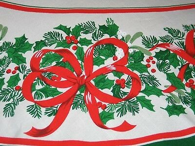 Vintage Christmas Oval Linen Tablecloth Holly & Bows