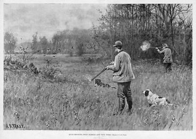 Quail Hunting Four Barrels Four Birds By A. B. Frost Upland Game Bird Hunt Dogs