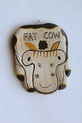 """"""" Fat Messy Cow """" Handcraft Wooden Sign / Farm Animal Wood Plaque"""