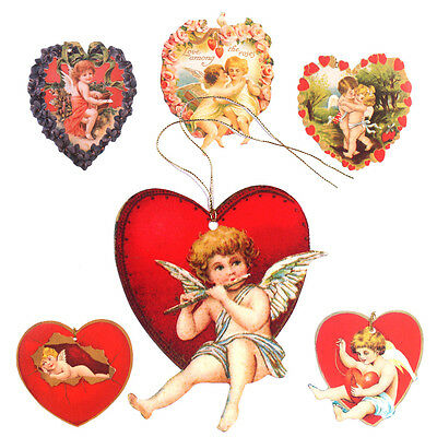 150 Edwardian Heart Shaped Gift Tags, Romantic & Die-cut ET0026