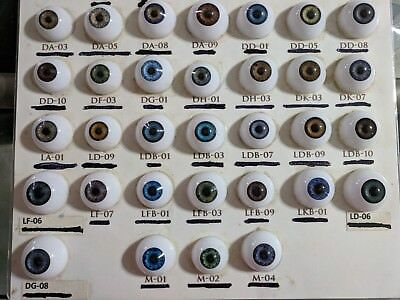 ACRYLIC LIFE LIKE DOLL EYES ~ 28mm HALF ROUND BEAUTIFUL COLORS IN DESCRIPTION
