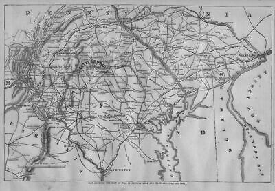Civil War 1863 Harper's Weekly Map Gettysburg Virginia Washington Philadelphia
