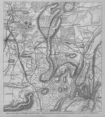 Murfreesboro Tullahoma Chattanooga 1863 General Rosecran Advance Civil War Map