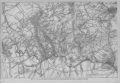 Civil War Map Of Maryland, Virginia 1863 Theatre Of War