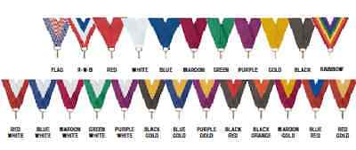 "Lot of 10 - 7/8""x 32"" Color Neck Ribbons w/clip Medal"