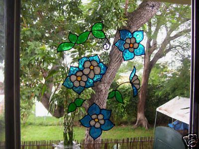 6 faux stained glass columbine flower window clings