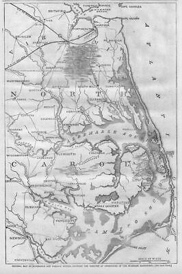 Civil War Map North Carolina Sounds Burnside Expedition