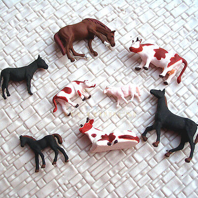 80 pcs HO painted Farm Animals ( 8 different poses ) Horse Brown Cow Donkey  #A