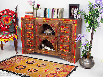 antik-look Afghan Fernseh TV Schrank boffet Sideboard console cupboard cabinet P