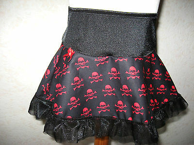 Mini Goth,Rockl  Baby Red Black Skull Tutu Micro Skirt