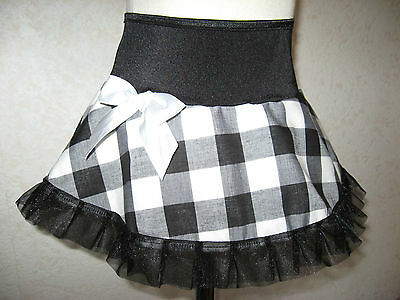 NEW CUTE Baby Girls Black White large Gingham Check Frilly Party Gift Rock retro