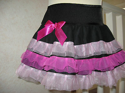 NEW Girls Black Cerise Pink Frilly Tutu Skirt Hippy Dance Party Gift All Sizes