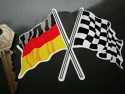 Crossed German Tricolour & Chequered Flag sticker 100mm