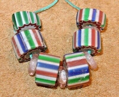 Antique Venetian Four Layer Drawn Chevron Italian Cane Glass Beads African Trade