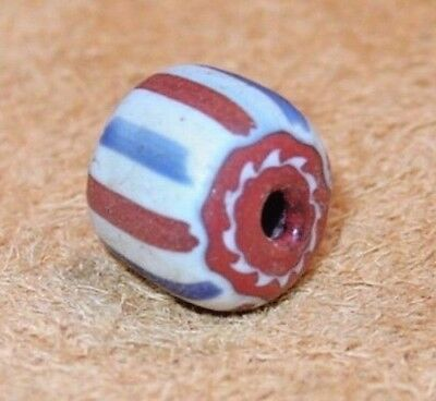 Antique Venetian Four Layer Chevron Italian Star Cane Glass Bead, African Trade