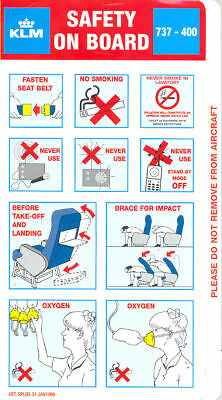 Safety Card - KLM - B737 400 - 1998 - 01/98 - 31 - Blue (S2345)