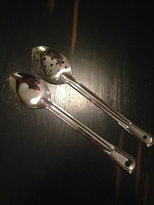 "10 Serving Spoons 13"" Stainless Steel Free Shipping Usa Only"