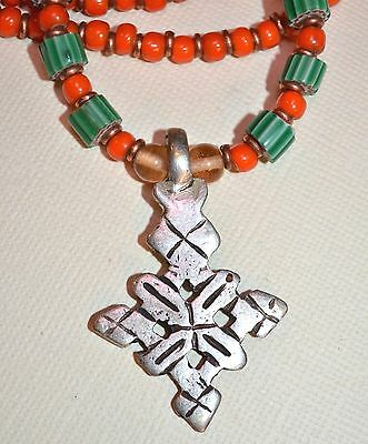Ethiopian Coptic Christian Cross Necklace W Antique Venetian African Trade Beads